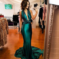 Floor Length Sexy Deep V Neck Party Dress Backless Shiny Green Satin Dress Bodycon Elegant Mermaid Dresses