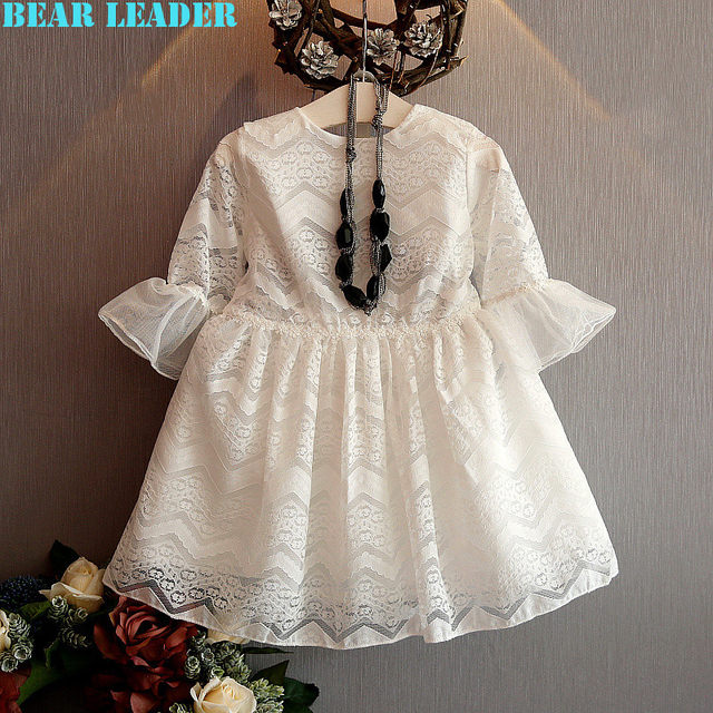 Bear Leader Girls Lace Dress 2016 Brand Princess Dresses Kids Clothes Half Sleeve Lace Rad and White for Girls Party Dress 3-7Y