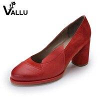 2017 Vintage Women Pumps Genuine Leather Women Shoes High Heel Sheepskin Suede Chunky Heels