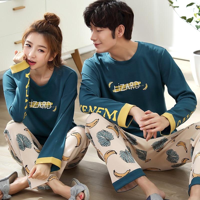 Couple Pajama Sets Women Sleepwear Cotton Pajamas Fruit Banana Print Long Sleeve Pyjamas Women Home Wear Autumn Female Sleepwear