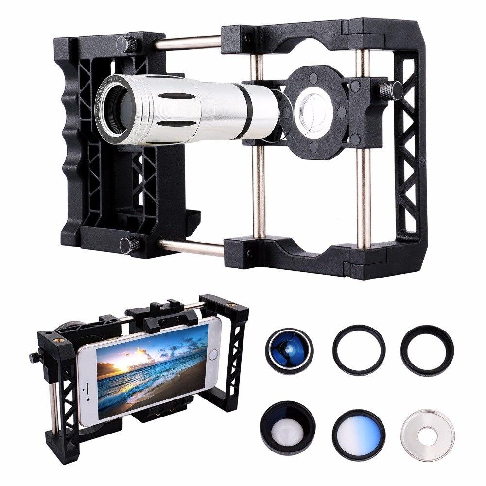 Système de Cage de poignée de stabilisateur de support de téléphone + télescope + objectif grand Angle Macro + filtre pour iPhone 7 6 S 6 Samsung