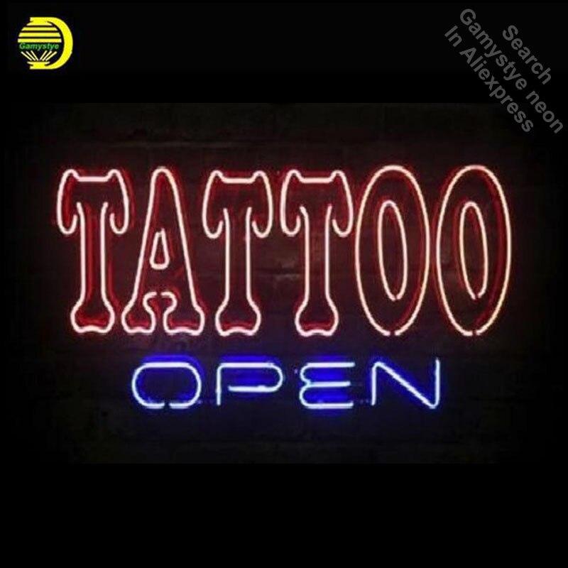 Business Personnalisé ENSEIGNE au néon Pour Tatouage Ouvert Réel GlassTube Artisanal Restaurant Signes Lumineux lampe Arts néon personnalisé
