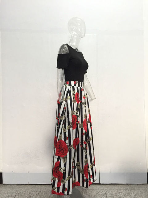 JRRY New Two Pieces Casual Women Maxi Dresses Short Sleeve Black Top Long Pattern Floral Dress Vestidos