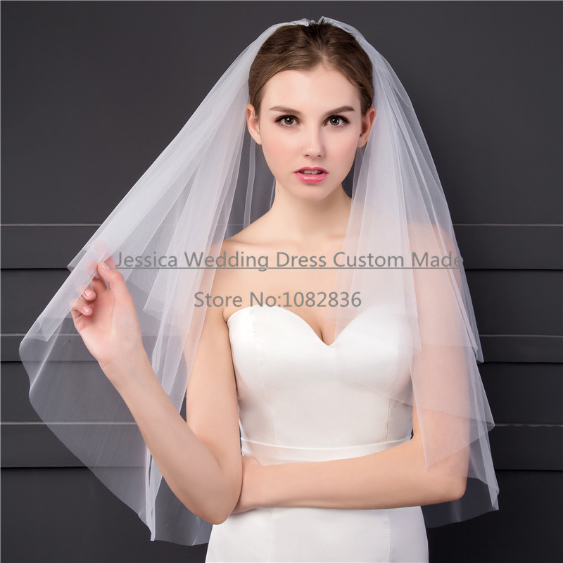 Simple Style Bridal Veils 2T Cut Edge Elegant Soft Tulle 2017 Real Pictures Wholesale Price White/Ivory Short Wedding Veils