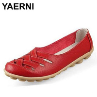 YAERNI Women Sandals Summer Shoe Comfortable Flats Woman Shoes Split Leather Hollow Out Nurses Working Cow