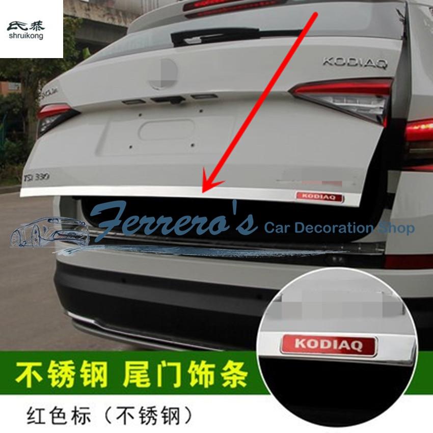 Livraison gratuite 1 pc car styling pour 2017 skoda Kodiaq Acier Inoxydable retour arrière tronc Protection décoration paillettes dans Chrome Styling de Automobiles et Motos