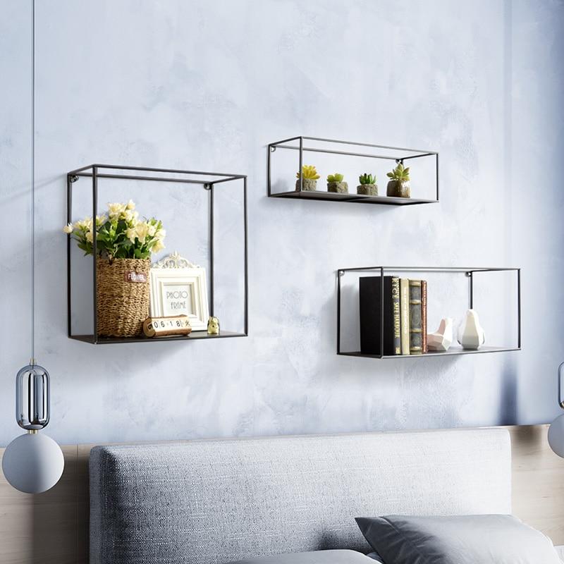 Nordic minimalist wrought iron wall partition racks living room wall decoration creative wall shelf shelf - 2