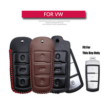 Genuine Leather Car Key Case Cover For Volkswagen VW Golf 7 4 Passat B5.5 B6 B8 B7 CC Polo T5 Tiguan Jetta 6 Scirocco UP Key Fob