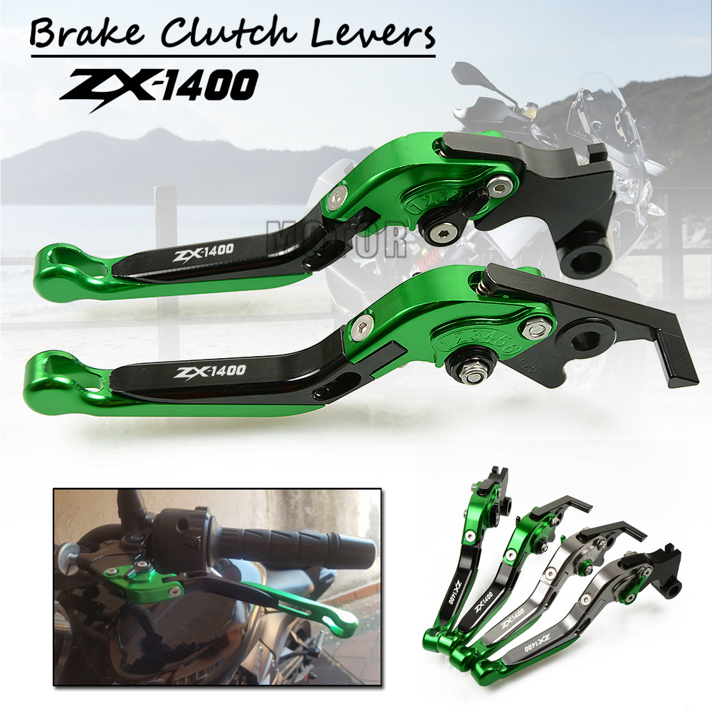 CNC Aluminum Motorcycle Adjustable Folding Brake Clutch Levers For Kawasaki ZX1400 ZX14R ZX1400 S Version Foldable