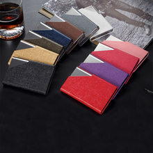 11 color solid 2019 new fashion PU leather stainless steel business card holder men women minimalist cards wallet portatessere