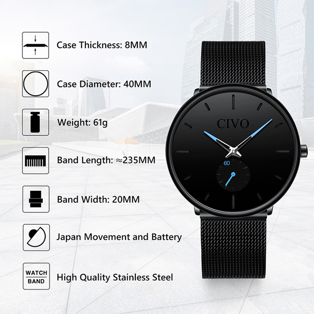 CIVO Fashion Waterproof Slim Quartz Wrist Watches 4