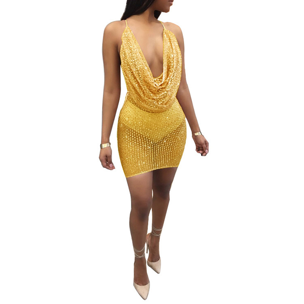 03cca7c582992 2018 Sexy Women Sequin Halter Dress Sheer Mesh Sleeveless Backless Ladies  Night Party Mini Dresses Club wear Bodycon vesitos-in Dresses from Women s  ...