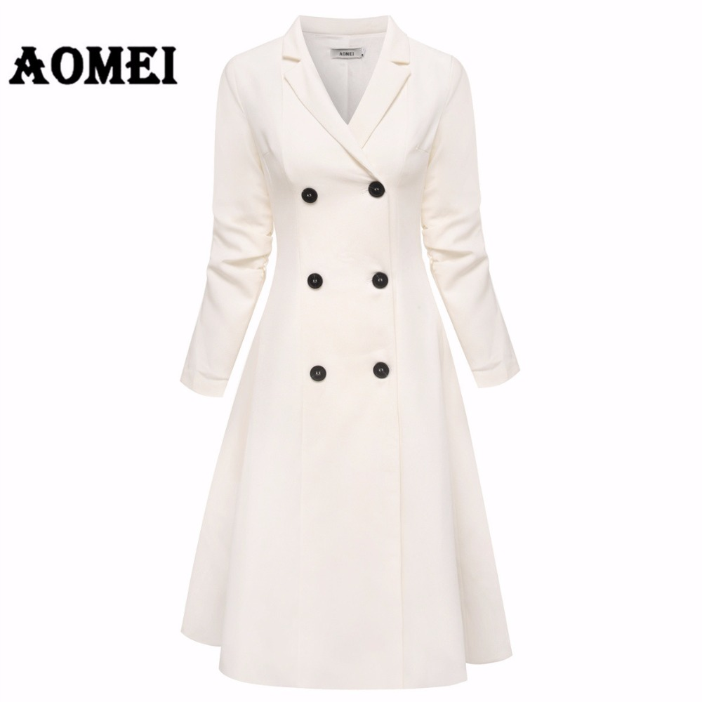 Office Lady White Blazer Dresses Suits Jackets Workwear V Neck With Double Button Midi Suit Dress