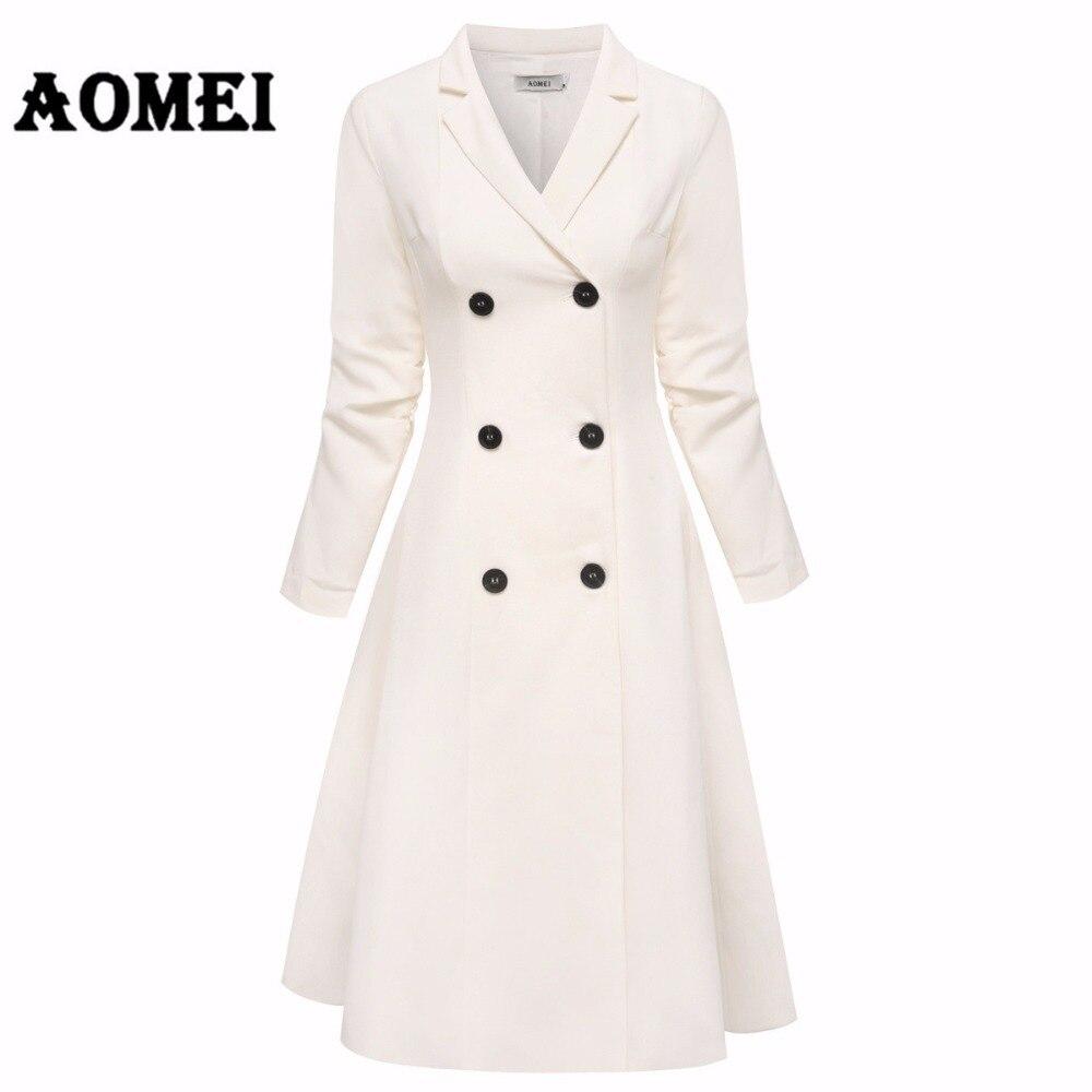 Bureau Lady blanc Blazer robes costumes vestes vêtements de travail col en V avec Double bouton Midi costume robe vêtements hiver une ligne tuniques