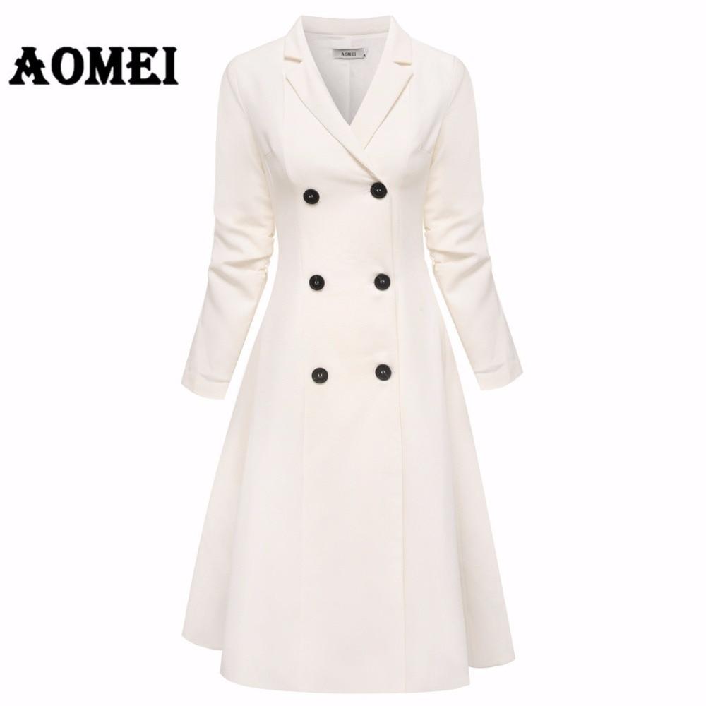 Office Lady สีขาว Blazer ชุดสูทแจ็คเก็ต Workwear V คอคู่ปุ่ม Midi ชุดเสื้อผ้าฤดูหนาว Line tunics-ใน ชุดเดรส จาก เสื้อผ้าสตรี บน AliExpress - 11.11_สิบเอ็ด สิบเอ็ดวันคนโสด 1