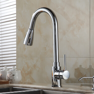 New Design Pull Out Kitchen Faucet Chrome 360 Degree
