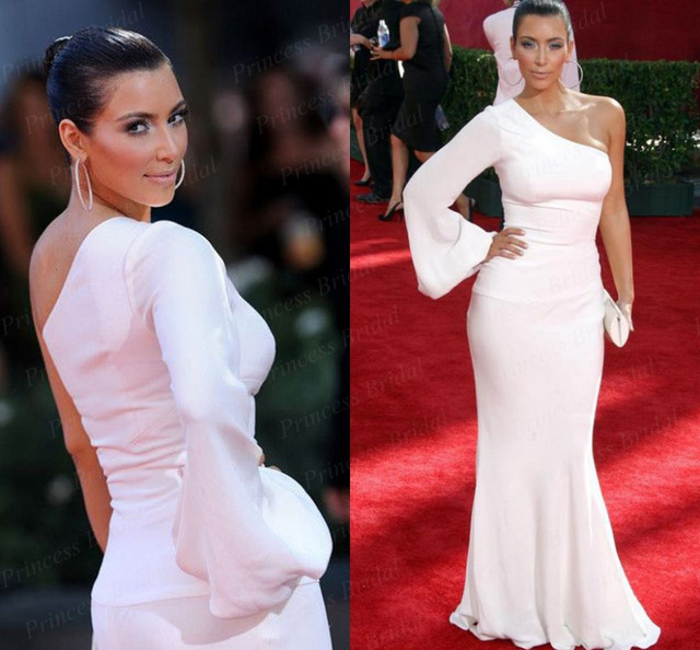 Kim Kardashian White One Shoulder Dress