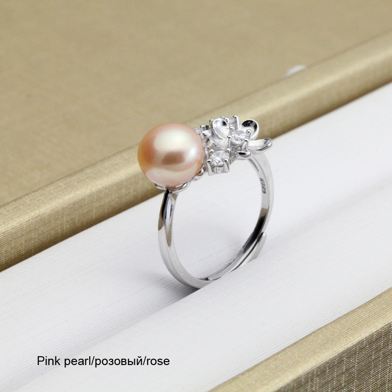 YouNoble Real Natural Freshwater Pearl Rings,Wedding 925 Silver for women Jewelry Adjustable Girl Birthday Gift White Pink Rings