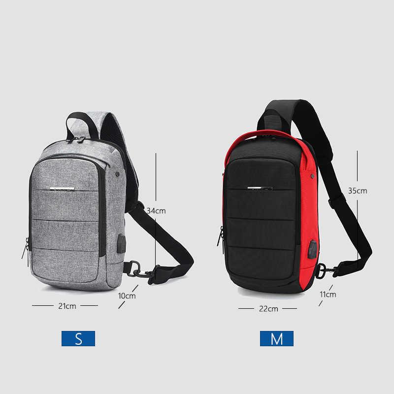 Ozuko pacote de peito masculino casual à prova dwaterproof água crossbody sacos masculino usb carregamento bolsa ombro grande capacidade oxford messenger bag 2019