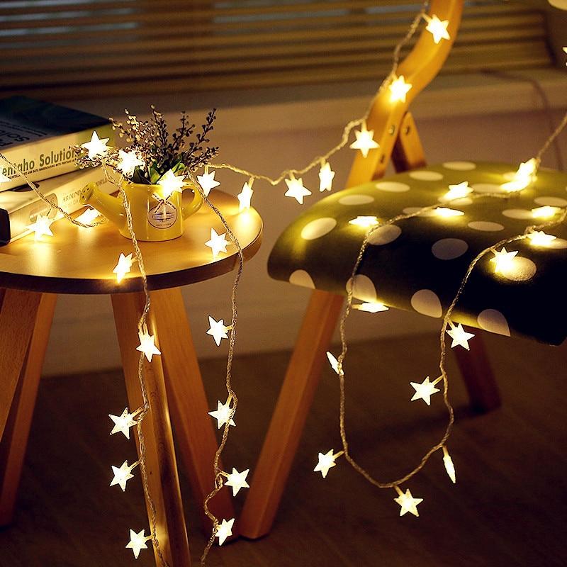 Battery Operated LED Star String Lights 1.5M/3M/6M/10M Fairy Garland USB Light String Decor Wedding Holiday Light 220V EU Plug