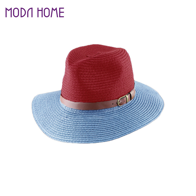 Korean Fashion Fedora Hat Leather Belt Color Block Panama Hat Beach Sun  Straw Hat Unisex 3 Style Color Chapeu Feminino 957130568ba6