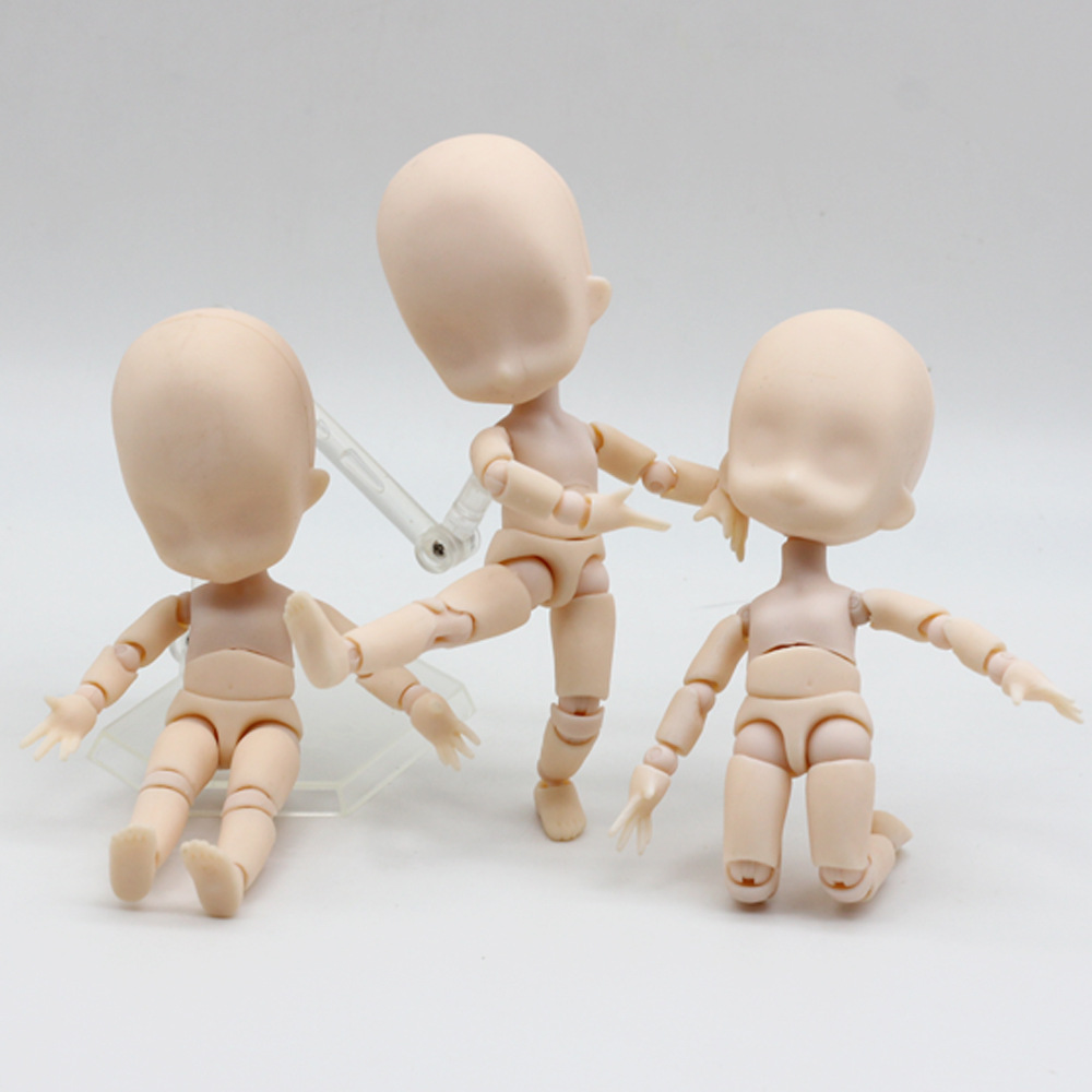 1/12 Nude Baby Dolls Toys Moveable 15cm Mini Baby Action Figure Toys DIY BJD Doll Ball Joint Body With Stand