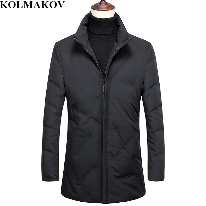 KOLMAKOV Men's Overcoats 2018 New Mens 85% White Duck   Down     Coats   Homme Winter Thick   Down   Jackets Man M-3XL Business Casual   Coats
