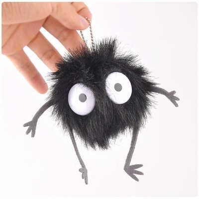 먼지 엘프 인형 봉제 인형 토토로 작은 펜던트 검은 탄소 석탄 공 먼지 엘프 키 체인 인형 장난감 아이 생일 선물