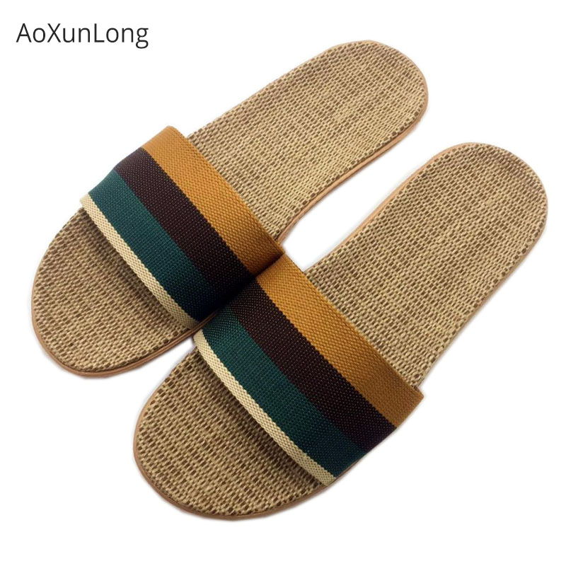 Men Summer Linen Slippers Fashion Striped Fabric Home Slippers Men Indoor Leisure Slides EU 40-45 Size House Floor Slippers Hot