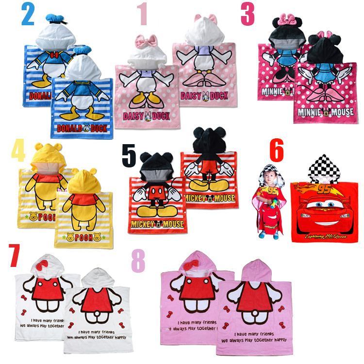 Cartoon Hooded Animal Modelling Baby Bathrobe/Children's Cartoon Bathrobe/Character Kids Ponchos/infant Bath Towels