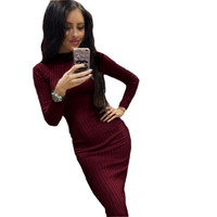 Fall 2017 Fashion Long Sleeve Knitted Casual Dress Autumn Winter Red Black Sexy Club Party Bodycon