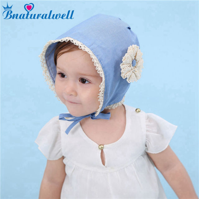 Bnaturalwell Baby Bonnet Chambray Sewing Pattern Toddler Blue Denim Bonnet  Baby girl Sun Hat with flower Toddler Spring Hat H056 1b1ce6644d6