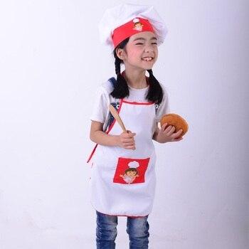 Детский фартук + шляпа шеф-повара, детский костюм повара для готовки, детский костюм шеф-повара для рукоделия, для художественного приготовления пищи, для самостоятельной живописи, SYT9351