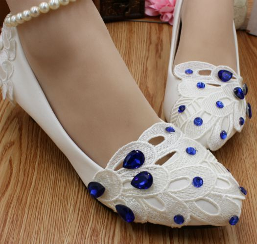 Low Heel White Lace Wedding Shoes Woman Blue Rhinestones