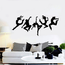 Dance Studio Silhouette Dancing People Wall Stickers Vinyl Home Decor For Living Room Removable Self Adhesive Mural  DA12