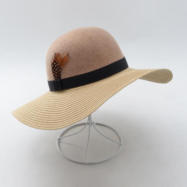 Muchique Summer Hats For Women Floppy Beach Hat Two Tone Paper Straw Wool Felt