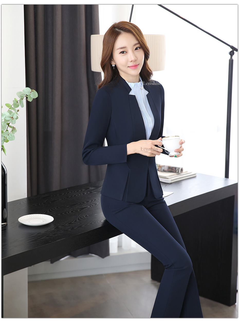2 piece Gray Pant Suits Formal Ladies Office OL Uniform Designs Elegant Business Work Wear Jacket with Trousers Sets 30