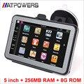 5 polegada MTK carro navegador GPS 800 MHz, RAM 256 M, ROM 8G, navegação gps FM, E-book, mapas gratuitos, apoio dropshipping
