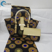 New arrival Africa wax fabric with leather patchwork for high quality women bags and 6yards african