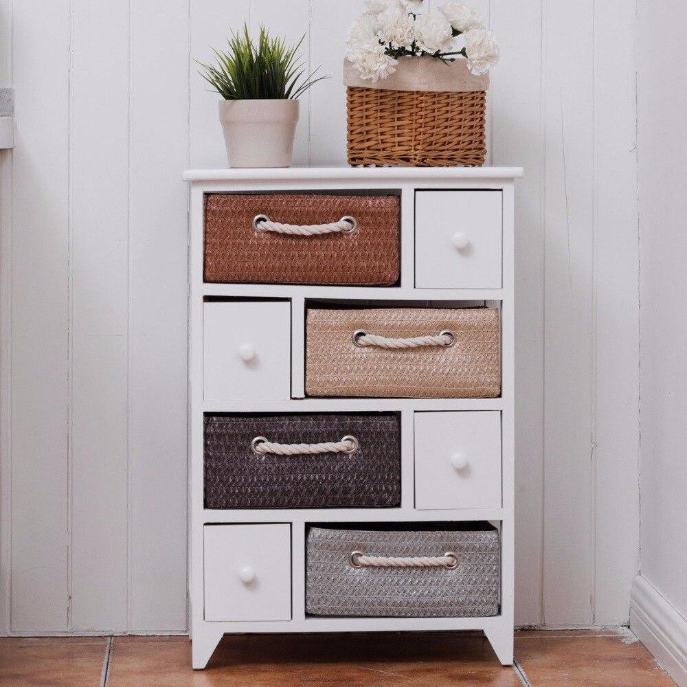 Goantex 4 tiroir 4 tissé panier unité de rangement Rack étagère coffre armoire bois cadre blanc salon meubles HW55993