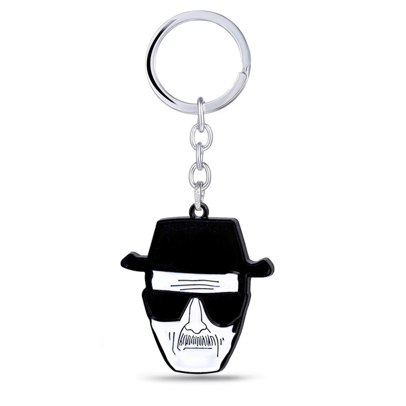 Classic TV Show Breaking Bad Keychain Walter White Key Chains Metal Pendant Car Skull Chaveiro Men Action Figure Cosplay Toys