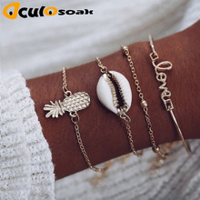 Bohemian Love Cowrie Shell Pineapple Bracelets for Women 4PCS/Set Ocean Beach Chain Bracelet Set Armbanden Voor Vrouwen