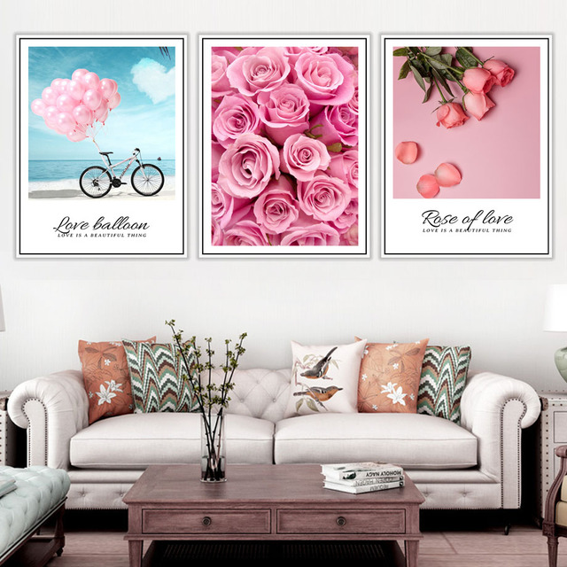Balloon Rose Flower Love Quotes Wall Art Canvas  1