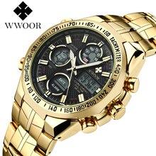 WWOOR wszystkie stalowe cyfrowe męskie kwarcowy LED podwójny wyświetlacz wojskowy złoty zegar męska luksusowe Alarm wodoodporne zegarki sportowe 8019