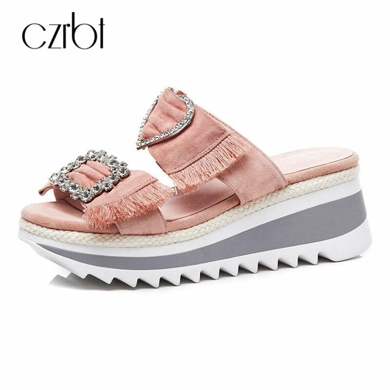 CZRBT Kid Suede Shoes Women Ladies Slippers Causal Platform Wedges Heels Crystal Women Outside Big Size Comfortable Slides