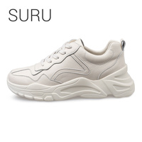 SURU Leather Sneakers Women White Or Milk Lace up 5cm Platforms Casual Shoes pigskin lining