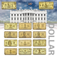 WR 14Pcs Colorful US Dollar Gold Bullion Banknote Metal Crafts 24K Gold Plated Replica Coin Gold Bar Business Gift Collection
