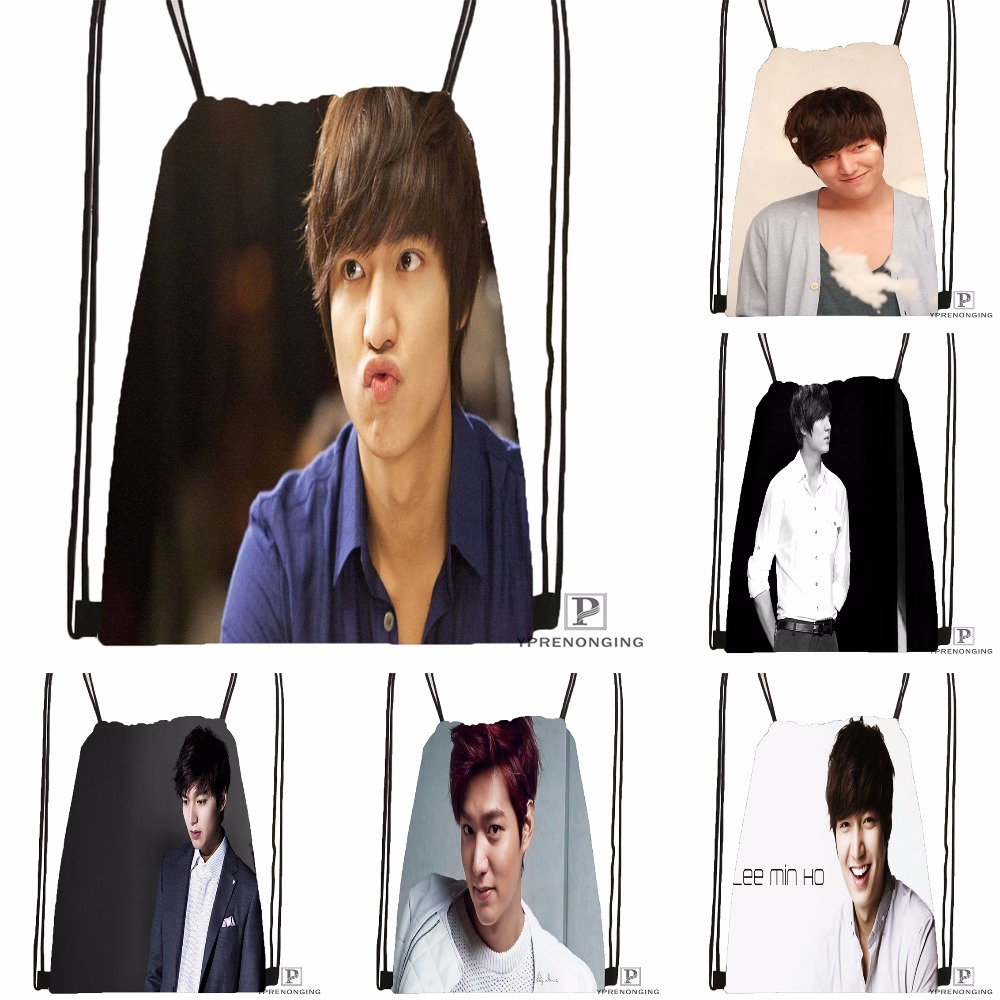 Custom Lee Min Ho Drawstring Backpack Bag Cute Daypack Kids Satchel (Black Back) 31x40cm#180531-02-38