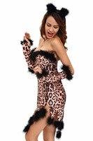 2016 Night Club Sexy Erotic Halloween Costumes For Women Sexy Sleeveless Fluffy Leopard Costume Set Deguisement