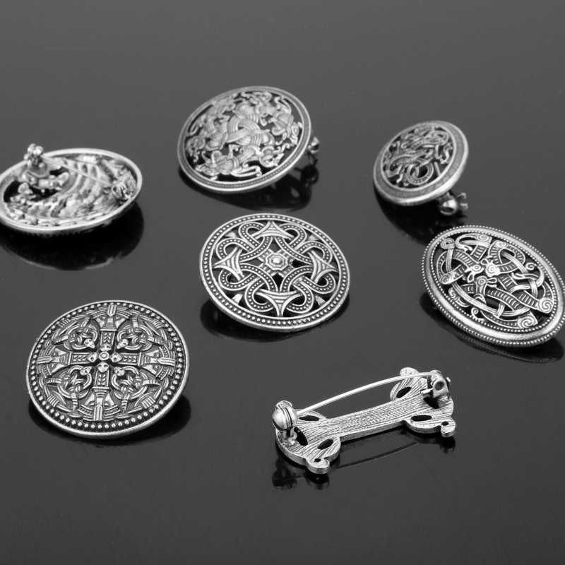 HANCHANG 1pcs Nordic Vikings Amulet Sweden fibula Set Brooches Viking Brosch Jewelry Talisman Badge Pins For Women Men Cosplay